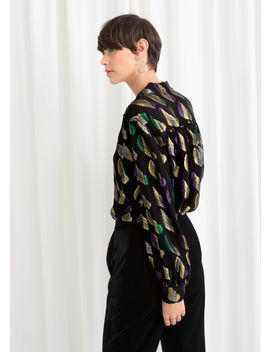 Sheer Metallic Button Up Shirt by & Other Stories