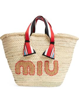 Paglia Straw Top Handle Tote by Miu Miu