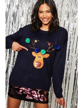 Reindeer Applique Jumper With Pom Pom by Boohoo