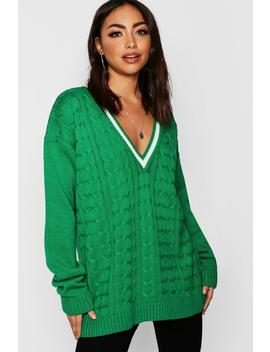 V Neck Cable Knit Long Line Jumper by Boohoo