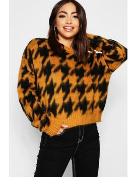 Oversized Fluffy Knit Dogstooth Jumper by Boohoo