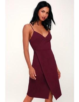 Have You Heard Plum Purple Surplice Midi Dress by Lulus