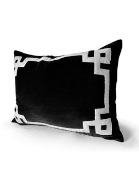 Black Velvet Pillow, Throw Pillow Cover, Greek Key Trim Applique Pillow, Velvet, Black White Pillow, Housewarming Gift, Sister Mother Friend by Etsy