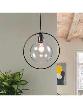 Luna Antique Black Single Light Glass Iron Loop Pendant Chandelier by The Lighting Store
