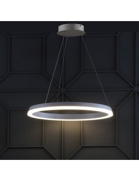 """Baxter 23.5"""" Integrated Led Round Metal Hoop Pendant, Matte White by Jonathan Y"""