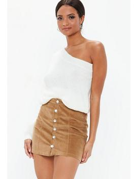 Tan Cord Button Through Mini Skirt by Missguided