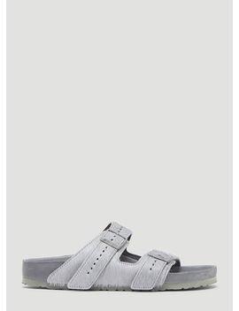 Arizona Fur Sandals In Grey by Rick Owens X Birkenstock