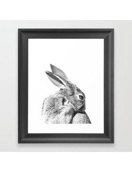 Black And White Rabbit Framed Art Print by