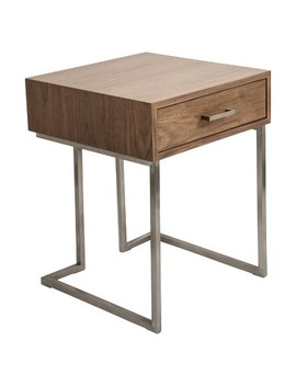 Roman Contemporary End Table   Walnut/Stainless Steel   Lumisource by Lumi Source