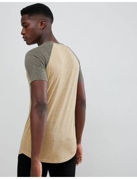 Asos Design Longline T Shirt With Curved Hem And Contrast Raglan Sleeves In Linen Mix In Beige by Asos Design