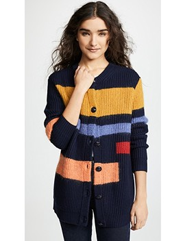 Wool Colorblock Cardigan by Tory Burch