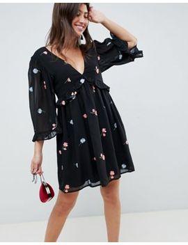 Asos Design Embroidered Smock Mini Dress by Asos Design