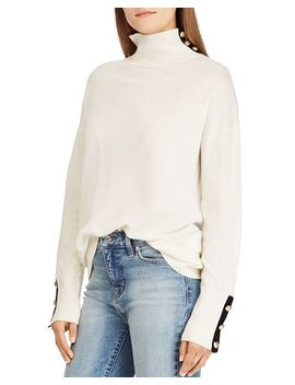 Cashmere Button Trim Turtleneck   100 Percents Exclusive by Lauren Ralph Lauren