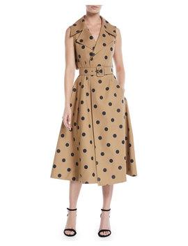 Sleeveless Polka Dot Twill Tea Length Dress W/ Wide Belt by Oscar De La Renta
