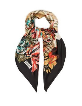 Scribble Floral Vintage Check Silk Scarf by Matches Fashion