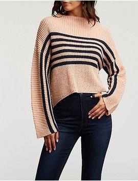 Striped Cropped Pullover Sweater by Charlotte Russe
