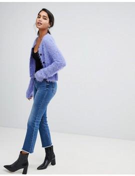 Asos Design Diamond Knit Cardigan In Fluffy Yarn by Asos Design