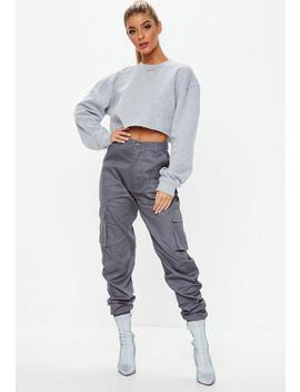 Charcoal Plain Cargo Trousers by Missguided