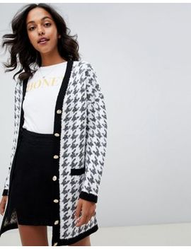 Asos Design   Lang Vest Met Contrasterende Knopen In Pied De Poule by Asos