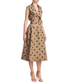 Polka Dot Sleeveless Wrap Belted A Line Dress by Oscar De La Renta