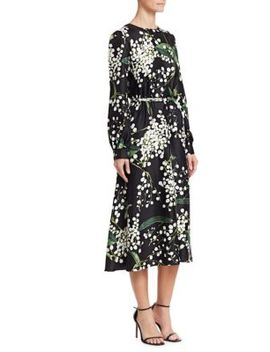 Floral Long Sleeve Side Button Silk A Line Dress by Oscar De La Renta