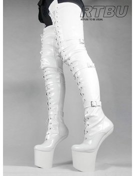 Dany Extreme Heelless Pony Light Hoof Sole Patent 80cm Crotch Hi Laceup Boot by Etsy
