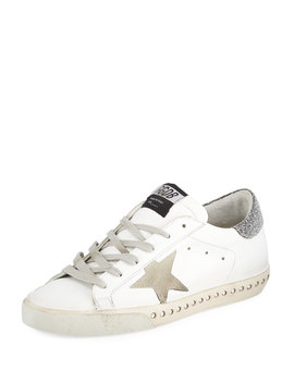 Superstar Leather Low Top Sneakers With Crystal Base by Golden Goose