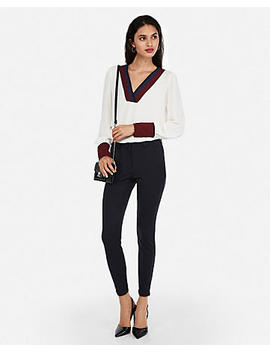 Color Block Soft V Neck Blouse by Express