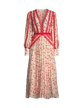 Printed Chiffon Lace Pleated Long Sleeve Midi Dress by Self Portrait