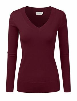 Jj Perfection Women's Simple V Neck Pullover Soft Knit Sweater by Jj Perfection