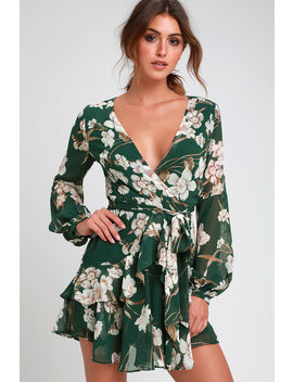 Virtue Forest Green Floral Print Ruffled Long Sleeve Dress by Lulu's