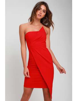 Queen Of The City Red Strapless Bodycon Dress by Lulus