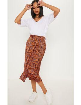 Navy Leopard Print Wrap Midi Skirt by Prettylittlething