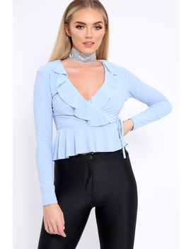 Powder Blue Plunge Frill Wrap Tie Front Top   Rebecca by Rebellious Fashion