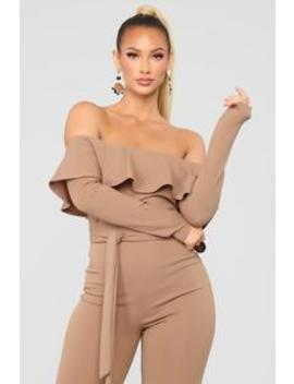 More Bounce To The Flounce Jumpsuit   Taupe by Fashion Nova