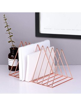 Reliancer File Organizer Triangle Iron Desktop Storage Book Rack Bookshelf Copper Magazine Newspaper Holder Art Desktop Organizer Wire Collection 9 Section For Office Home Decoration(Rose Gold) by Reliancer
