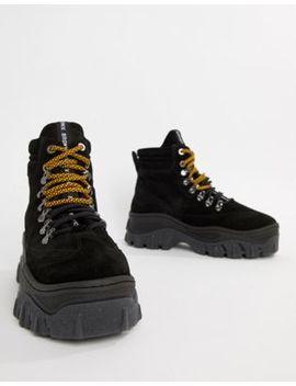 Bronx   Sneakers Alte Con Suola Spessa Nere Scamosciate by Asos