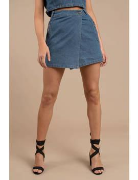 Rehab Clothing Sorry, Not Sorry Medium Wash Denim Wrap Skirt by Tobi