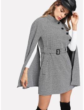 Self Belted Houndstooth Cape Coat by Romwe