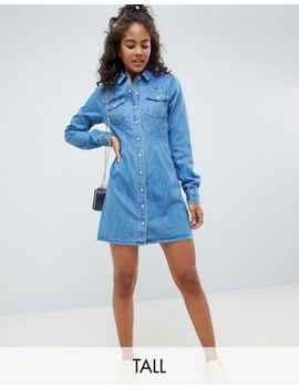 Asos Design Tall Denim Fitted Western Shirt Dress With Seam Detail by Asos Design