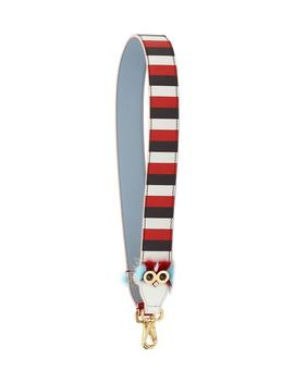Strap You Striped Leather Guitar Bag Strap With Genuine Mink Fur Trim by Fendi
