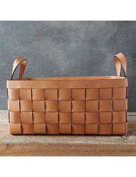 Wide Weave Leather Basket by Terrain