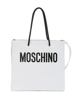 Logo Leather Shoulder Bag Tote Bag by Moschino
