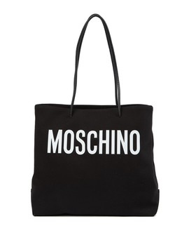 Brand Logo Canvas Tote Bag by Moschino