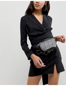 Серая сумка кошелек на пояс в клетку Boohoo by Asos