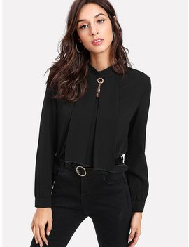 Pearl Detail Button Keyhole Back Blouse by Romwe