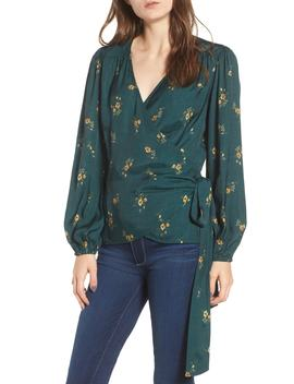 Floral Spot Wrap Top by Hinge