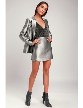 Dream Of You And Me Silver Metallic Mini Skirt by Lulu's