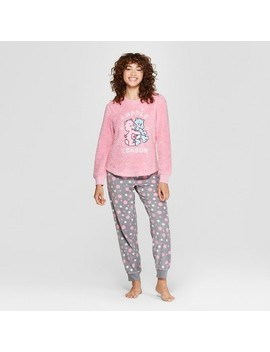 Women's Care Bear Holiday Cozy Pajama Set   Pink by Care Bears