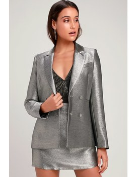 Starshine Metallic Silver Blazer by Lulu's